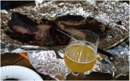 Picture of a Brisket Injected with Jester King Brewery Black Metal Stout
