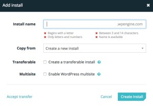 Screenshot of WP Engine User Portal Add Install