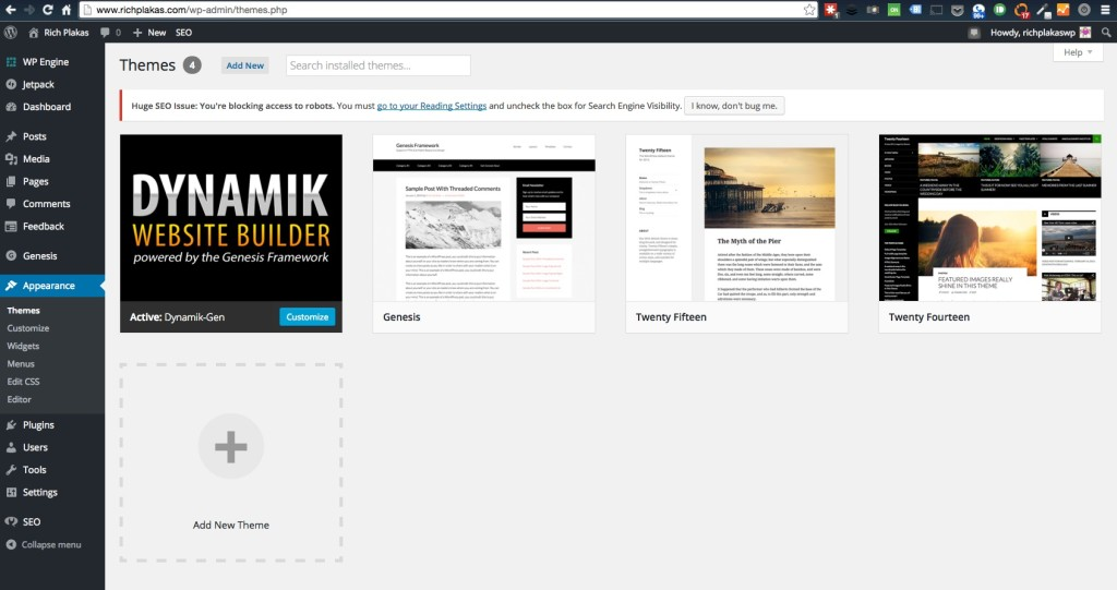WordPress Installing New Themes Genesis Studiopress